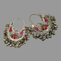 Kuchi Earrings, Vintage Hoops, Afghan, Boho, Ear Weights, Red, Pink, Middle Eastern, Pierced, Ethnic Jewelry