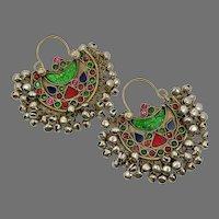 Hoop Earrings, Boho, Kuchi Earrings, Ear Weights, Green, Red, Blue, Pierced, Silver, Patina, Ethnic, Tribal, Afghan, Bohemian