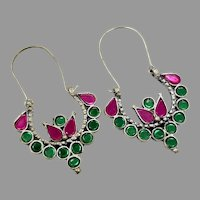 Gypsy Hoops, Kuchi Earrings, Pink, Green, Vintage Earrings, Middle Eastern, Silver Metal, Festival, Ethnic, Tribal, Afghan Jewelry