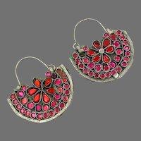 Hoop Earrings, Boho, Middle Eastern, Vintage Earrings, Kuchi, Pink, Red, Flower, Pierced, Silver, Patina, Ethnic, Tribal, Afghan, Bohemian