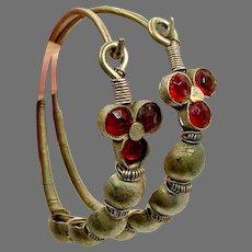 Gypsy Hoops, Afghan, Vintage Earrings, Middle Eastern, Thicker Gauge, Oversized, Red,Jewels, Kuchi, Massive, Silver, Tribal
