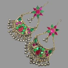 Gypsy Earrings, Boho, Afghan, Huge, Vintage Earrings, Middle Eastern, Ear Weights, Green, Pink, Jeweled, Kuchi, Bohemian