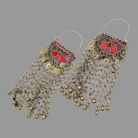 "Afghan Earrings, Massive, Hoops, 6"" Long, Purple, Red, Ear Weights, Gypsy, Vintage Earrings, Middle Eastern, Silver, Ethnic Tribal, Huge"
