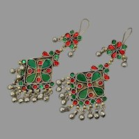 Massive Earrings, Boho, Vintage Earrings, Middle Eastern, Red, Green, Jeweled, Kuchi, Gypsy, Afghan, Bohemian