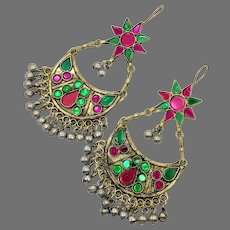 Gypsy Earrings, Boho, Afghan, Huge, Vintage Earrings, Middle Eastern, Ear Weights, Green, Pink, Jeweled, Kuchi, Bohemian