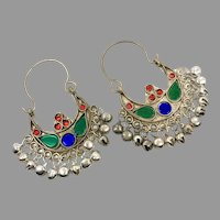 Gypsy Hoops, Kuchi Earrings, Silver, Red, Vintage Earrings, Middle Eastern, Green, Blue, Festival, Ethnic Tribal, Afghan, Boho Statement