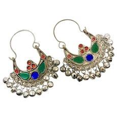 Gypsy Hoops, Kuchi Earrings, Silver, Red, Vintage Earrings, Middle Eastern, Green, Blue, Festival, Ethnic Tribal, Afghan, Boho Statement
