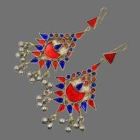 Red Earrings, Cobalt Blue, Massive, Boho, Vintage Earrings, Middle Eastern, Jeweled, Kuchi, Gypsy, Afghan, Bohemian, Belly Dance