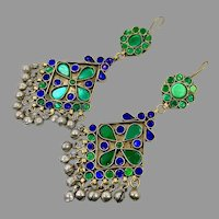 Green Earrings, Blue, Kuchi Earrings, Middle Eastern, Vintage Earrings, Large, Big, Jewels, Pierced, Silver, Tribal, Afghan