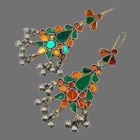 Orange Earrings, Green, Kuchi Earrings, Middle Eastern, Vintage Earrings, Large, Big, Jewels, Pierced, Silver, Tribal, Afghan