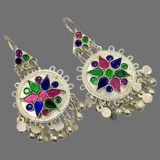 Big Earrings Kuchi, Afghan, Vintage Earrings, Silver, Jewels, Middle Eastern, Green, Blue, Pierced Dangle, Ethnic Jewelry