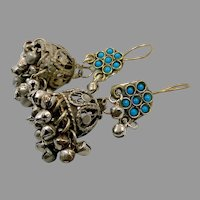 Afghan Earrings, Jumka, Bell Shape, Ear Weights, Vintage Earrings, Turquoise, Middle Eastern, Belly Dancing, Kuchi, Gypsy