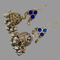 Bell Earrings, Afghan, Lapis, Vintage Earrings, Jhumka Earrings, Ear Weights, Blue, Kuchi Gypsy, Middle Eastern