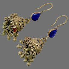 Afghan Earrings, Lapis, Jumka, Bell Shape, Ear Weights, Vintage Earrings, Middle Eastern, Belly Dancing, Green Glass, Kuchi, Gypsy