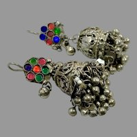 Afghan Earrings, Jhumka, Vintage Earrings, Tassels, Ear Weights, Middle Eastern, Rainbow, Jeweled, Kuchi, Gypsy, Belly Dance, Big