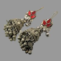 Afghan Earrings, Jumka, Bell Shape, Ear Weights, Vintage Earrings, Middle Eastern, Belly Dancing, Red Glass, Kuchi, Gypsy