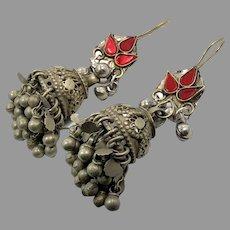 Afghan Earrings, Jumka, Bell Shape, Ear Weights, Vintage Earrings, Middle Eastern, Belly Dancing, Red Glass, Kuchi, Gypsy