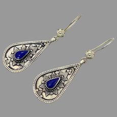 Blue Lapis Earrings, Afghan Earrings, Vintage Earrings, Middle Eastern, Silver Metal, Composite Stone, Kuchi Gypsy, Boho Jewelry
