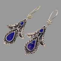 Lapis Earrings, Silver Earrings, Blue Stone, Pakistan, Vintage Earrings, Middle Eastern, Kuchi, Boho Gypsy, Afghan, Bohemian, Ethnic, Tribal