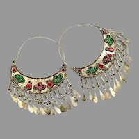 Gypsy Hoops, Kuchi Earrings, Silver, Red, Vintage Earrings, Middle Eastern, Green, Festival, Ethnic, Tribal, Afghan, Boho, Statement