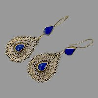 Lapis Earrings, Blue Stone, Vintage Earrings, Brass, Middle Eastern, Kuchi, Afghan Jewelry, Ethnic, Tribal, Composite Stone