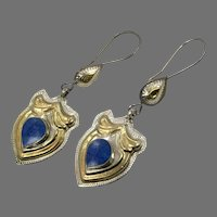 Afghan Earrings, Lapis Inlay, Old Silver, Gold Wash, Vintage Earrings, Blue Stone, Kuchi, Gypsy, Middle Eastern, Boho