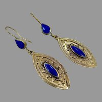 Lapis Earrings, Blue Stone, Vintage Earrings, Brass, Middle Eastern, Kuchi, Afghan Jewelry, Ethnic Tribal