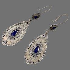 Blue Lapis Earrings, Afghan Earrings, Vintage Earrings, Middle Eastern, Silver Metal, Composite Stone, Kuchi Gypsy, Boho Jewelry