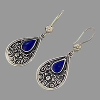 Lapis Earrings, Silver Earrings, Blue Stone, Vintage Earrings, Middle Eastern, Kuchi, Boho Gypsy, Afghan, Bohemian, Ethnic, Tribal