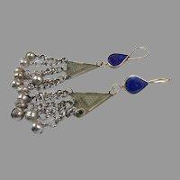 Blue Lapis Earrings, Afghan Earrings, Vintage Earrings, Kuchi Jewelry, Nomadic Gypsy