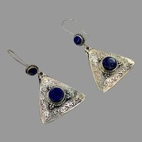 Blue Lapis Earrings, Afghan Earrings, Silver, Vintage Earrings, Kuchi, Middle Eastern, Gypsy, Boho Jewelry, Statement, Long, Big, Festival
