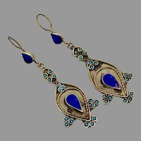 Lapis Earrings, Afghan, Vintage Earrings, Kuchi Gypsy, Turquoise, Boho, Pierced Dangle, Mixed Metal, Statement, Long