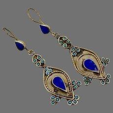 Lapis Earrings, Afghan, Vintage Earrings, Kuchi Gypsy, Turquoise, Boho, Pierced Dangle, Mixed Metal, Statement, Long