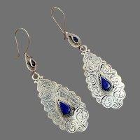 Lapis Earrings, Blue Stone, Vintage Earrings, Middle Eastern, Boho, Kuchi, Afghan, Ethnic, Tribal, Etched Silver