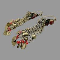 """Afghan Earrings, Big Hoops, Vintage Earrings, 4 1/4"""" Long, Middle Eastern, Old Patina, Kuchi, Gauged, Silver, Dangles, Boho, Large, Huge"""