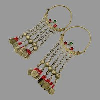 Gypsy Hoops, Afghan, Kuchi, Red Jewels, Vintage Earrings, Old, Silver, Middle Eastern, Ethnic, Tribal