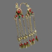 Old Afghan Earring, Big Hoops, Kuchi Earrings, Afghan, Gypsy, Vintage Earrings, Red, Silver, Middle Eastern, Ethnic Tribal, Long, Boho
