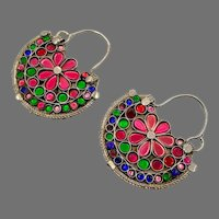 Gypsy Earrings, Vintage Hoops, Afghan, Boho, Jewels, Pink, Blue, Green, Middle Eastern, Pierced, Ethnic