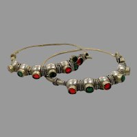 Gypsy Hoops, Afghan, Vintage Earrings, Middle Eastern, Red, Green, Jewels, Kuchi, Massive, Thicker Gauge, Oversized, Silver, Tribal, Afghan