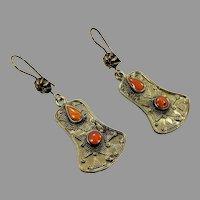 Boho Earrings, Brass, Vintage Earrings, Middle Eastern, Kuchi Gypsy, Orange Stone, Afghan Jewelry, Bohemian