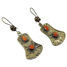 Boho Earrings, Brass, Vintage Earrings, Middle Eastern, Kuchi Gypsy, Orange Stone, Afghan Jewelry, Bohemian