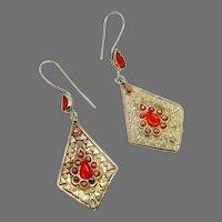 Boho Earrings, Orange Glass, Afghan, Vintage Earrings, Middle Eastern, Kuchi, Gypsy, Boho, Bohemian, Silver, Festival