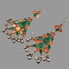 Orange Earrings, Green, Kuchi Earrings, Middle Eastern, Vintage Earrings, Large, Big, Jewels, Pierced, Silver, Tribal, Afghan
