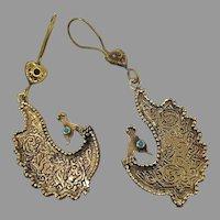 Peacock Earrings, Birds, Afghan, Vintage Earrings, Middle Eastern, Kuchi Gypsy, Turquoise