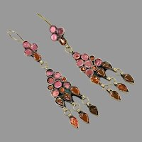 Pink Earrings, Boho, Kuchi, Vintage Earrings, Jewels, Middle Eastern, Pierced, Ethnic, Afghan
