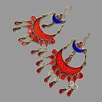 Boho Earrings, Massive, Vintage Earrings, Middle Eastern, Red, Blue, Jeweled, Kuchi, Gypsy, Afghan, Bohemian, Big
