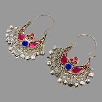 Gypsy Earrings, Kuchi Hoops, Big Dangles, Silver, Red, Blue, Vintage, Festival, Ethnic Tribal, Afghan Jewelry, Boho