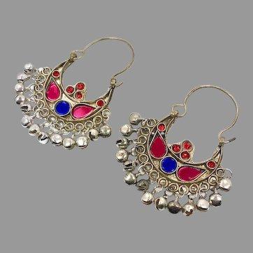Gypsy Earrings, Kuchi Hoops, Big Dangles, Silver, Red, Blue, Vintage, Festival, Ethnic Tribal, Afghan Jewelry, Boho