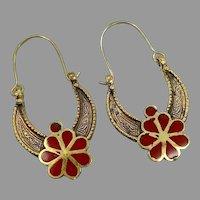 Big Hoops, Afghan, Kuchi Earrings, Brass, Red, Vintage Earrings, Middle Eastern, Festival, Ethnic Tribal