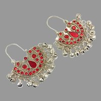 Red Hoops, Kuchi Earrings, Vintage Earrings, Jewels, Middle Eastern, Pierced, Silver, Tribal, Afghan